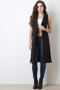 Long Line Sleeveless Blazer Vest