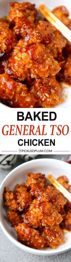 Baked General Tso Chicken Recipe - Crushed Cornflakes imitate fried chicken so well you'll forget you are eating healthy! This is a healthy baked general Tso chicken recipe - Baked chicken pieces tossed in a tangy and sweet sauce. Tso Chicken, Baked Chicken, Boneless Chicken, Recipe Chicken, Roasted Chicken, Chicken Bites, Chicken Meals, Butter Chicken, New Recipes