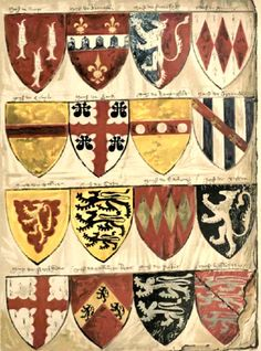 PLATE II SIXTEEN SHIELDS FROM A ROLL OF ARMS OF ENGLISH KNIGHTS AND BARONS MADE BY AN ENGLISH PAINTER EARLY IN THE REIGN OF EDWARD III.  Drawn by William Gibb.