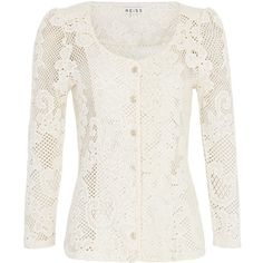 Reiss Bette Lace Jersey Cardigan found on Polyvore