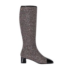 MORAL Glitter Bi-Color Chunky Heel Boots@ shopjessicabuurman.com