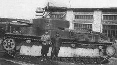 """panzerfluch: """" Captured Soviet T-28, with its Finnish crew members for scale """""""
