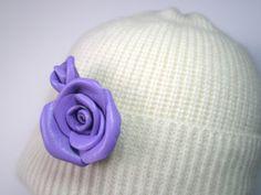 3rd anniversary giftViolet Leather Flower Rose Brooch,Pendant  Wedding,Proms,Celebration,Friendly Gift