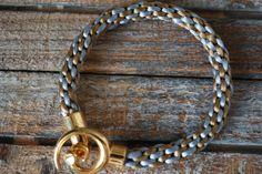 Grey Rope Bracelet Braided Cord Bracelet Kumihimo by fanfarria
