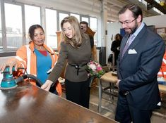 Hereditary Grand Duke Guillaume and Hereditary Grand Duchess Stéphanie visited Okkasiounsbuttik workshop at the CIGL Differdange in south-western Luxembourg. The Okkasiounsbuttik, one of CIGL Differdange asbl's services, works in collaboration with Luxembourg social services to offer affordable upcycled furniture to its clients.