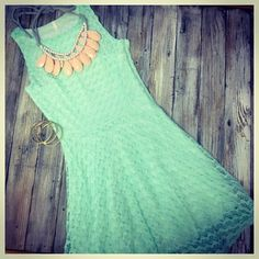 We are in love with this mint lace dress! Another perfect Easter dress! $45.95! #Easterdress