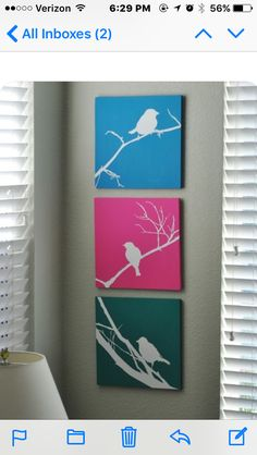 Items similar to Set of Three Bird Silhouette Hand Painted Signs on Etsy Diy And Crafts, Arts And Crafts, Paper Crafts, Diy Canvas, Canvas Art, Painting Canvas, Diy Painting, Diy Tableau, Bird Silhouette
