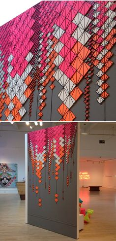 geometric - There are sooooo many amazing artists in this show, New Neon, that is currently hanging at Bedford Gallery in Walnut Creek, California {betw. Art Design, Interior Design, Wall Decor, Wall Art, Diy Wall, Geometric Art, Geometric Designs, Geometric Patterns, Installation Art
