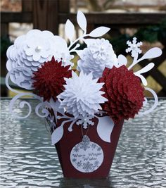 cricut flowers.  11 to 19 layers each 1/4 inch smaller than the next.