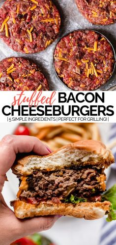 bacon cheddar cheese stuffed burgers recipe - plays well with butter - - learn how to make bacon cheddar cheese stuffed burgers recipe (aka the best grilled burgers you can make at home). they take just 5 ingredients & 30 minutes! Best Grilled Burgers, Grilled Burger Recipes, Gourmet Burgers, Beef Burgers, Bacon Recipes, Stuffed Burger Recipes, Veggie Burgers, Cheese Stuffed Burgers, Bacon Hamburger Recipes