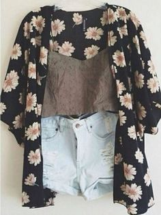 Floral sweater and demim shorts