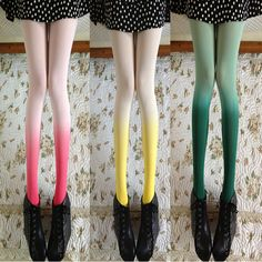 """cute kawaii fashion tights leggings    Color: Pink, Green, Yellow    Fabric: Velvet blend    One size fit all from height 150 cm to 177 cm (5'3"""" - 6'0"""") - Hip 80 - 98cm    visiting store: http://www.storenvy.com/stores/188265-cute-kawaii    find more amazing cute fashion things, some suit for you!"""