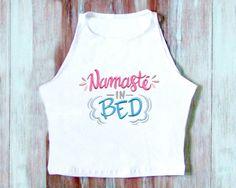 Namaste In Bed Crop Top-Namaste Crop Top-Yoga by ZellyaDesigns