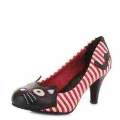 T.U.K. TUK A8557L SCARPA COL TACCO DA DONNA MISURA 38 DECORAZIONE PUNTA MICIO MAO STRISCE ROSSE Shoes Red & White Stripe Kitty Antipop Heel