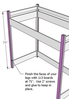 in $100-$150,Advanced,Bedroom,Beds,Kids and Toys,Loft Bed,bunk bed,plans Shopping List 15 – 1×3 Boards, 8′ Long 3 – 1×8 Boards, 10′ Long (cut one long and one short cut from each) 1 – 1×8 48″ Long …