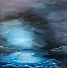 """Original Painting - """"Stormy Seas at Night"""", Blue, Black, Moonlight, Storm, Water, Waves, 12""""x12"""" Acrylic on Canvas via Etsy. #sold"""