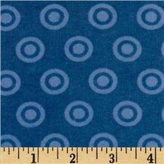 Alpine Flannel Basics Circle Dots Tonal Medium Blue