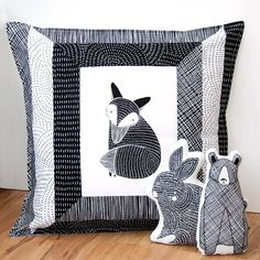 I just couldn't resist… Thicket by illustrator Stacie Bloomfield of Gingiber fabric panels of cute animals plus fat quarters of her black and white fabric prints, perfect for children's quilts, cushions and clothing.