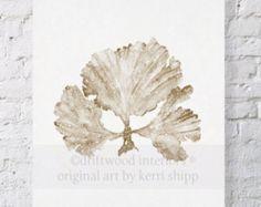 Algas marinas II imprimir acuarela Natural 11 x 14 - impresión del arte Coral - acuarela arte impreso - impresión Coral Taupe