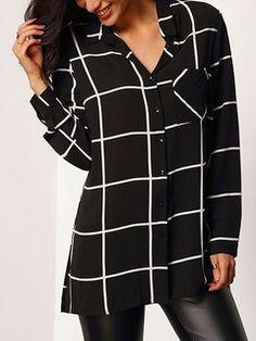 Collar del Turndown Plaid manga larga camisa Casual de raja blusa negra gasa Womens