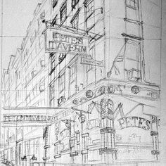 Pencilling the classic Pete's Tavern, another Great Good Place of New York.
