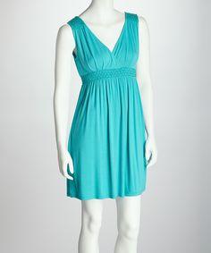 Love this Aqua Shirred Surplice Dress by Neesha on #zulily! #zulilyfinds