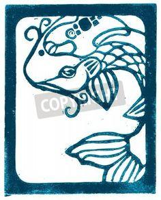 ocean lino wood cut | Vector illustration of Blue outline Koi Woodblock lino cut.