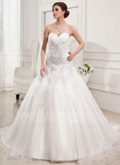 Wedding Dresses - $198.99 - Ball-Gown Sweetheart Chapel Train Organza Satin Wedding Dress With Ruffle Lace Beadwork (002011677) http://jjshouse.com/Ball-Gown-Sweetheart-Chapel-Train-Organza-Satin-Wedding-Dress-With-Ruffle-Lace-Beadwork-002011677-g11677