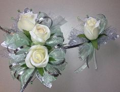 Mint Green Silk Rose Prom Corsage and Boutonniere Diy Wedding Bouquet, Corsage Wedding, Wedding Flower Decorations, Bride Bouquets, Floral Wedding, White Corsage, Flower Corsage, Ivory Roses, Silk Roses