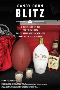 Treat your whole tailgate to a shot that is sure to be a treat for your squad.  Simply mix 1/2 part Jack Honey, 1 part RumChata, 1 part Butterscotch Schapps into a shaker with ice. Shake and strain.  Please enjoy responsibly.