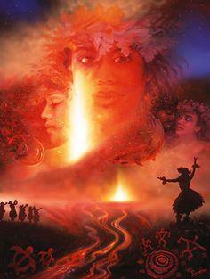 Pele Hawaiian Fire Goddess Art Print  http://www.hawaiiactive.com/category/oahu-cat-luau.html