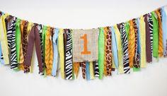 Jungle PARTY!  Add a special touch to your little one's safari.  This can decorate a highchair or sweets table.  Check out the shop for more themes and colors. www.mylittleboobug.etsy.com
