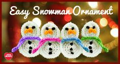 Get a free crochet pattern for a snowman ornament in Red Heart Super Saver.