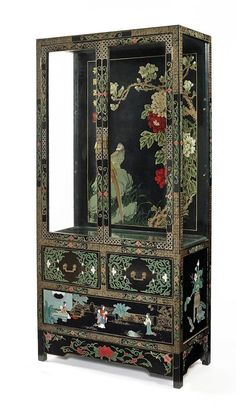 Lot: Chinoiserie decorated china cabinet, mid 20th c.,, Lot Number: 0161, Starting Bid: $150, Auctioneer: Pook & Pook, Inc., Auction: Decorative Arts Sale - Session One, Date: September 24th, 2013 EDT