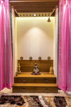 Pooja Room design with unique lighting #temple #poojaroom #lighting