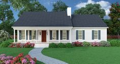 Sutherlin Small Ranch House Plan- modest looking from the outside, but has everything we want inside. Love the laundry right next to the MB, has basement option, maybe expand MB a bit, get rid of snack bar and open up to great room and add large pantry cabinets on wall shared with MB.