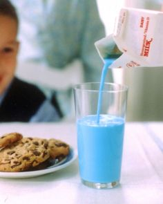 A Colorful Surprise Put blue food coloring in the milk before serving a meal or snack, and watch your children's eyes widen in surprise. - Martha Stewart