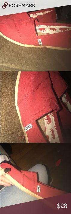 Red Toms Red toms. Worn only a couple time. Comes with box. Size 6.5 Toms Shoes Slippers
