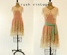 20s Dress Silk Chiffon XS / 1920s Vintage Lace Seafoam Dropwaist Dress / Sweet Naivete Dress by CrushVintage on Etsy https://www.etsy.com/listing/198347214/20s-dress-silk-chiffon-xs-1920s-vintage
