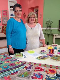 "Sue Spargo demonstrates felted wool applique on the set of ""Quilting Arts TV."" Series 1500 will start airing in January 2015. #QATV"