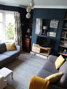 Blue Living Room Interior Design New Hague Blue Farrow and Ball Hagueblue Farrowandball Retro Living Room Color Schemes, Living Room Decor Colors, Retro Living Rooms, Mustard Living Rooms, Living Room Diy, Brown Living Room Decor, Living Room Paint, Teal Living Rooms, Victorian Living Room