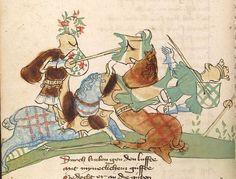 """Rudolf <von Ems> Willehalm von Orlens — Straßburg - """"Werkstatt von 1418"""", um 1420 Cod. Pal. germ. 323 Folio 121v"""