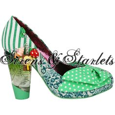 IRREGULAR CHOICE TRINKLETINA MINT GREEN FLORAL POLKA DOT VINTAGE HEELS SHOES