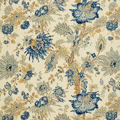 Ellis Floral Vine   1304001 in Indigo   Schumacher Fabric