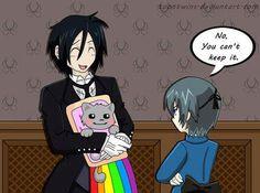 """Black Butler Nyan cat """"No u cant keep it cuz it's too happy."""" says mr. partypooper ciel. Poor bassy"""