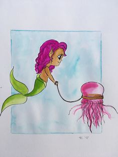 #mermay #pet #jelly #meerjungfrau #watercolor Jelly, Disney Characters, Fictional Characters, Watercolor, Disney Princess, Pets, Young Women, Gelee, Watercolor Painting