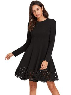 Find ROMWE Women's Scalloped Hem Stretchy Knit Flared Skater A-line Dress online. Shop the latest collection of ROMWE Women's Scalloped Hem Stretchy Knit Flared Skater A-line Dress from the popular stores - all in one