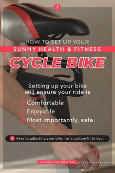 Setting up your bike will ensure your ride is comfortable, enjoyable, and most importantly safe. Here are the keys to adjusting your bike, so it's custom fit to you! #sunnyhealthfitness #cyclebike #cyclebikesetup #bikesetup #bikeadjustments Cycling For Beginners, Good Posture, Bike Seat, Cycling Workout, Workout Ideas, No Equipment Workout, Back Pain, Hiit, Sunnies