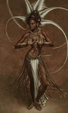 African goddess art /// i'm desperate to know which goddess this is! African American Art, African Art, Arte Black, Art Noir, Bd Art, African Goddess, Black Artwork, Afro Art, My Black Is Beautiful