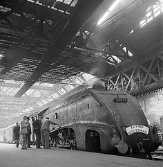 """From the 'Golden Age' of railways Is this evocative photograph by John Gay taken in 1948 of the Flying Scotsman at Waverley Railway Station Edinburgh. Diesel Locomotive, Steam Locomotive, Steam Trains Uk, Flying Scotsman, Steam Railway, Train Art, British Rail, Train Pictures, Train Engines"